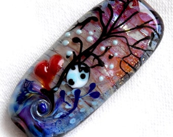 Focal Heart *Tree Of Life* Fairy Lampwork Bead Heart  Handmade Lampwork Beads by Beadfairy Lampwork, SRA