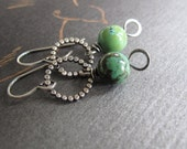rustic turquoise & sterling silver dangle earrings