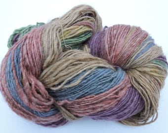 Hand Spun Gradient Yarn Single Shades of Green, Blue , Yellow, Suri  Alpaca Merino 15-11-3o