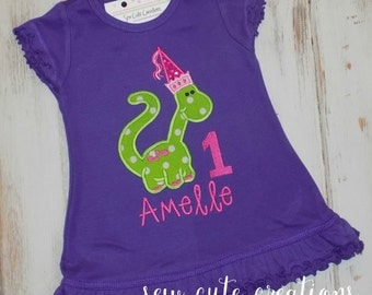 Personalized Princess Dinosaur Birthday Dress Personalized Girl Dinosaur birthday dress short sleeve long sleeve tank sew cute creations