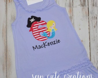 Girl Pirate Birthday Dress, Pirate Mermaid birthday dress, Mermaid Pirate Birthday dress, Girl Pirate outfit, sew cute creations