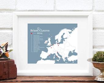 Unique Anniversary European Map Art Print : Personalized Relationship History Map - 8x10 Keepsake - Euro Map