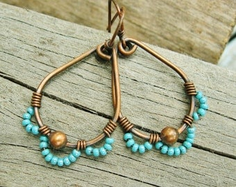 Wire Wrapped Teardrop Hoops with Aqua Seed Bead Petals in antiqued copper