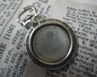 Pocket Watch Setting Antiqued Silver for 20mm Round Cabochon 4 Pcs
