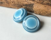 Vintage Clip Ons, Blue Clip Ons, Base Metal, Plastic Clip Ons, Etsy, Etsy Vintage