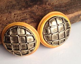 Vintage Earrings, Textured Woven Earrings, Clip On Earrings, Yellow and Brown Earrings, Plastic and Base Metal