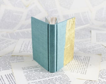 Hardcover Mini Linen Notebook in Turquoise