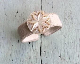 Grain Sack and Vintage Mother of Pearl Cuff Bracelet - Adjustable