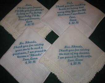 Embroidered Wedding Handkerchiefs for parents of Bride and Groom 205S Set of 4 hankies