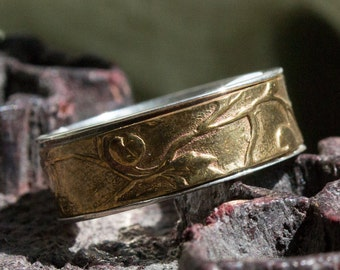 Unisex spinner ring, Sterling silver brass spinner ring, golden vine band, shiny ring. wedding band, two tones ring - Blind date R2107