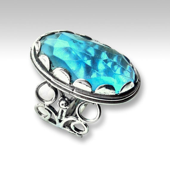 silver engagement ring hippie ring london topaz ring stone