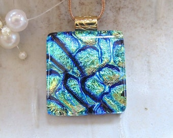 Aqua Necklace, Blue, Green, Gold, Dichroic Glass Pendant, Fused Necklace, Necklace Included, A7