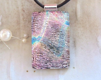 Pink Necklace, Dichroic Glass Pendant, Fused Glass Jewelry, Necklace Included
