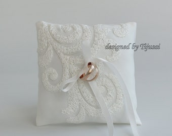 Ivory embroidered lace Wedding pillow  ---ring bearer pillow, wedding rings pillow , wedding pillow