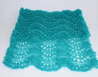 Short Turquoise  waves lace SCARF ---hand knitted, ready to ship