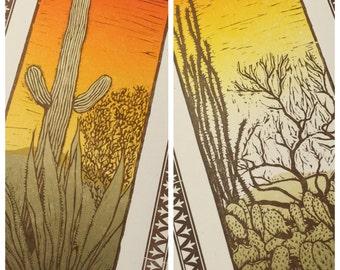 2 DESERT SCENE Landscape prints Cactus, Agave, Creosote, Prickly Pear Hand Printed Letterpress