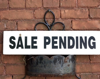 Vintage Sale Pending Sign - real estate - house sale - cream distressed - vintage