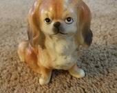 Cute Vintage Ceramic Pekingnese Statue Tiny Dog Royal Pekingnese