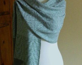 Hand Woven Sea Mist Green Silk & Tencel Shawl