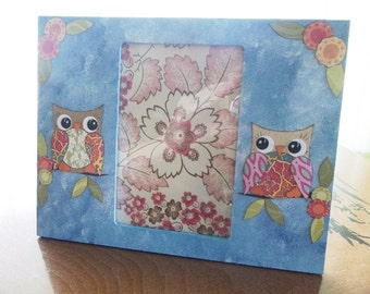 Picture Frame, Owl Frame, Hand Painted, Decoupage Frame, 4x6 Photo, Picture Frame, Wedding, Anniversary Gift Couples, W/Glass READY TO SHIP
