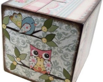 """EXTRA, Extra Large Wooden Coin Bank Box Personalized 8""""x8""""x8"""" Boy Piggy Bank Coin Box Prayer Box, Owls - Other Designs,Baptism MADE To ORDER"""