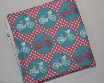 Pink and Blue Whimsical Wheels Dots Minky Security Blanket Lovey