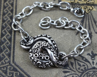 Spiral Tentacle Bracelet - Doctorgus Handcrafted Tentacle Jewelry - Solid Pewter and Stainless Steel - Steampunk Cephalopod Squid Jewelry