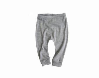 kids wool leggings - 3 COLOURS - toddler woollen longies, girls boys wool sweatpants, baby trousers, pyjamas - grey - marigold - peach