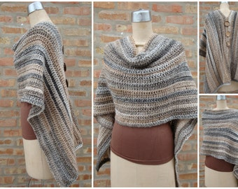 Brown and Grey Blend Poncho - Shawl - Coverup - Sweater- Hand Crochet - Custom Colors