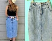 1980's Jean Skirt // Denim Skirt // 1980s Acid Wash Skirt // Cowgirl Skirt // Rodeo // Killer Style!