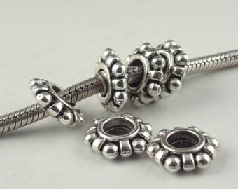 Big Hole Bead, Slider Bead, 5 Beads, BHB,fits Euro Style Charm Bracelet, Euro Charm Bead, pewter bead, Spacer bead, metal bead