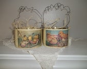 Vintage Easter Tin Can Easter Basket Set of 2 Chalk Paint Decoupage