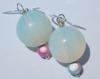 Pierced Earrigs Opalite iridescent bead pierced dangle hand made pierced dangle earrings