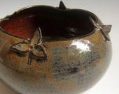 ON SALE 25% Off with Coupon code Handcrafted gold  rust trilliumbowl