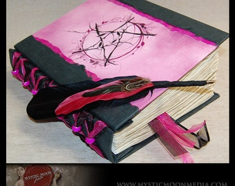 Pentagram Book of Shadows...Midnight Fuchsia Shimmer.. with fuchsia Glass Beads... XL Journal and Quill Pen...Refillable