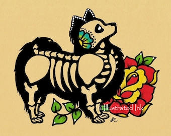 Day of the Dead Dog PAPILLON Dia de los Muertos Art Print 5 x 7, 8 x 10 or 11 x 14 - Choose your words - Donation to Austin Pets Alive
