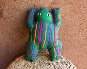 Fabulous Beanbag Style Mola Frog Pillow -  Whimsical Kuna Indian Reverse Applique