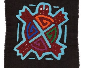 "Sweet Little Hand Sewn ""4 Direction"" Sea Turtle Mola Mini - Kuna Indian Reverse Applique"