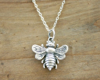 Bee Necklace, Large sterling silver bee necklace, Symbol of friendship. Honey bee. Gift for Her, Girlfriend, Friendship jewelry