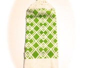 Lime Green And White Diamonds Hand Towel With White Crocheted Top
