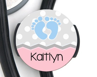 Stethoscope ID Tag - Polka Dot Baby Feet - Choice of Colors - Personalized Name Steth Tag
