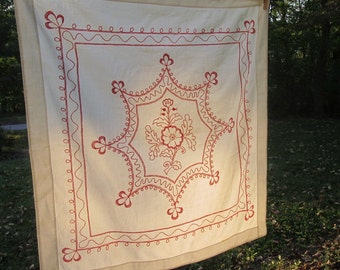 Vintage Wall Hanging/ Table Cover - Hand Embroidered - Coral On White