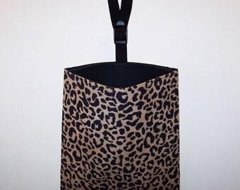 Car Litter Bag // Auto Litter Bag // Auto Trash Bag // Stay Open Design! // Cheetah // Ultra Suede // Tan And Black