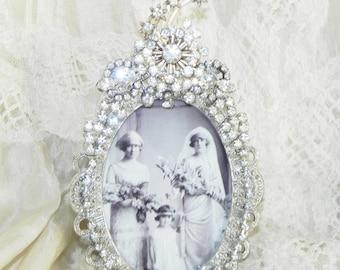 Vintage Jewel Clear Rhinestone Photo Picture Frame OOAK Elegant Perfect for Weddings
