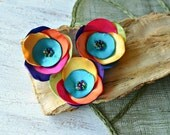 Satin fabric flowers, silk flower appliques, small satin roses, rainbow wedding flowers, bulk flower embellishment (3pcs)- RAINBOW ROSES