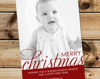Simple Christmas card, simple holiday card, custom photo card, printable card or printed cards, Merry Christmas or Happy Holidays