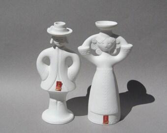 Vintage Kaiser Porcelain Candle Holders Mid Century Modern Folk Art Man & Woman Wedding Couple