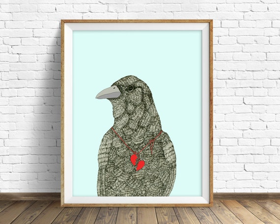 "raven, raven print, raven art, wall art, wall art print, large art, large wall art, nature prints, ink drawing, art print - ""Broken Heart"""
