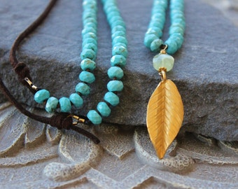 Long Turquoise Necklace,  Bohemian long necklace,leaf goldpendant