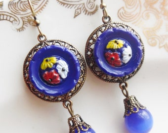 Calico Blue, Vintage Glass Button Earrings - Style #2